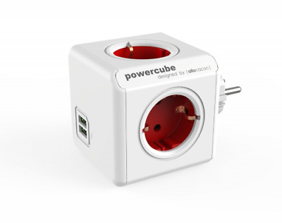 allocacoc PowerCube Duo USB Original Rot, Reiseadapter & 4x Steckdose und Vertei