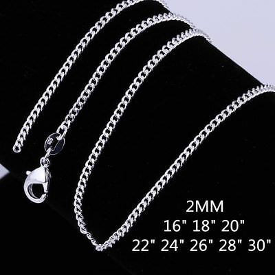 New 925 Sterling Silver Filled 2mm Classic Chain Necklace For Pendants Wholesale