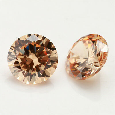 100pcs 0.8~10.0mm Round AAAAA Champagne Loose cz stone Cubic Zirconia gems
