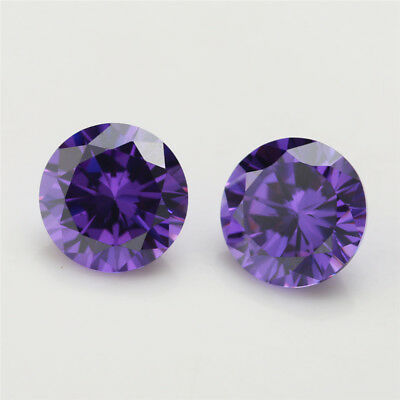100pcs 0.8~10.0mm Round AAAAA Violet Purple Loose cz stone Cubic Zirconia gems