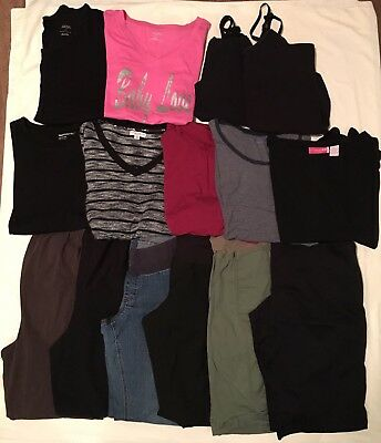 Maternity Lot Fall Winter Career Casual Jeans Pants Shirts 15 Items Size L