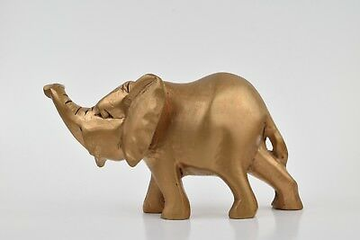 """Whimsical gold painted wood elephant figurine, Approx. 3"""" x 6"""""""