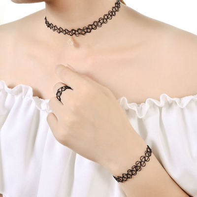 90s Fashion Tattoo Choker Stretch Necklace Retro Henna Elastic Gothic Set