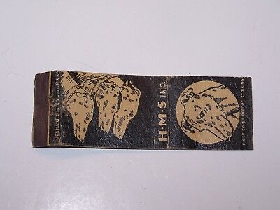 Vintage H-M-S Caterer To Sporting World Greyhound Dogs front strike matchbook