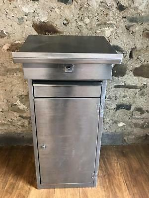 Vintage Industrial Stripped Metal Podium Hostess Stand Restaurant Stand Lectern