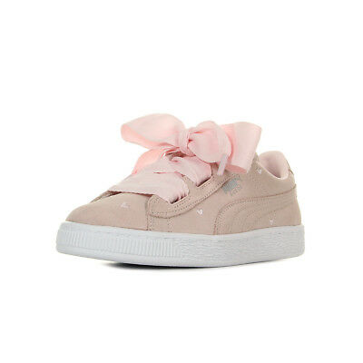 10f0782d22594 Chaussures Baskets Puma fille Suede Heart Valentine PS taille Rose Cuir  Lacets