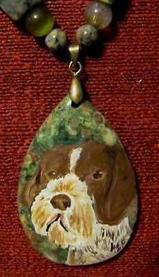German Wirehaired Pointer on teardrop pendant/bead/necklace