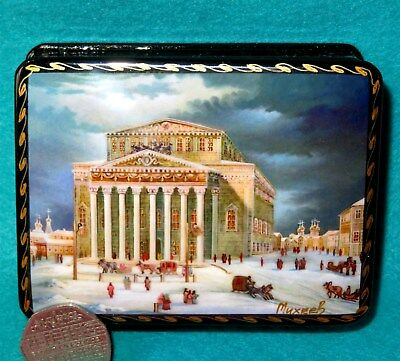 Russian Lacquer Box Genuine small Moscow The Bolshoi Theatre GICLEE style signed