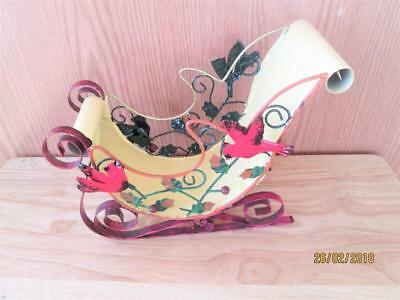 Colorful Metal Christmas Sleigh With Red Cardinals Decoration