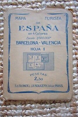Old Turista Map of Spain - Barcelona - Valencia 2,50 Pesetas