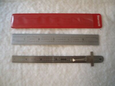 """L.S. Starrett 604R and General 300 6"""" stainless machinist rules"""