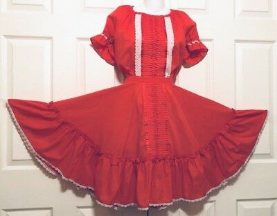 """Square Dance """"rockmont Ranch"""" Dress 2-Piece Red With White Eyelet Lace M"""