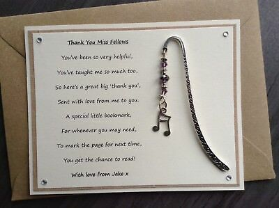 Thank You Teacher Gift Bookmark. Personalised Poem Magnet Music Quavers Piano SV