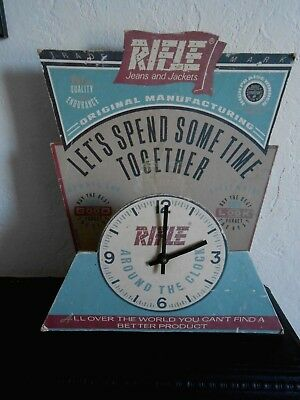 Original vintage RIFLE JEANS and JACKETS shop counter advertising clock