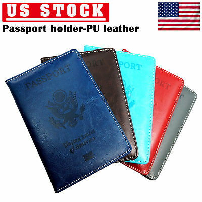 Passport Holder Travel Leather Organizer Protector Cover Wallet Passport  Black