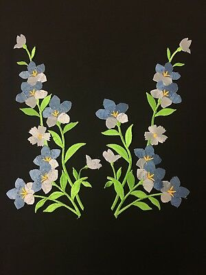 Sew on & iron on embroidery patches( embroidered flower pair-blue & green)