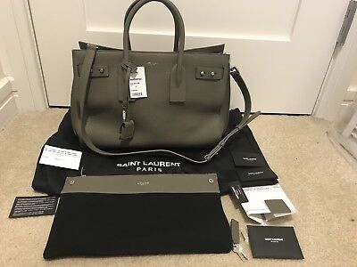 bcc7714cde9b Saint Laurent YSL Dark Green Medium Sac de Jour Grained Leather Bag NWT   3290
