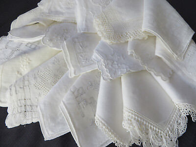 Lot 20 Vtg Antique Bridal White Handkerchiefs Hankies Embroidered Lace PERFECT