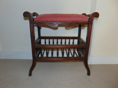 Antique Rosewood Piano Stool Chair Seat Adjustable Height Vintage Furniture