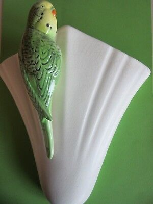 Sylvac Green Budgie Wall Pocket (Vase), Vintage 1950's Home Décor