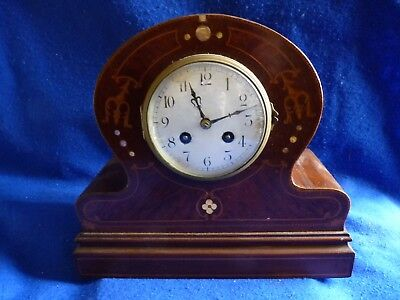 Japy Freres inlaid wooden mantel clock with chimes