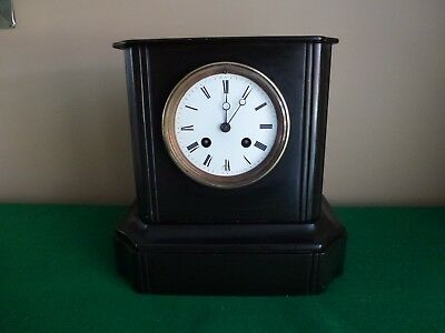 Victorian Jappy Freres Two Train Black Slate Mantle Clock