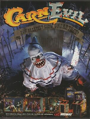 CarnEvil First Person Shooter Arcade Game Promotional flyer Midway 1998 Clown