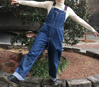 VINTAGE Tommy Hilfiger Overalls With Logo Straps, Size Small
