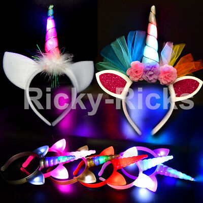 Light Up Unicorn Flower Headband Flashing Horn Ears Costume Kids Magical Hair