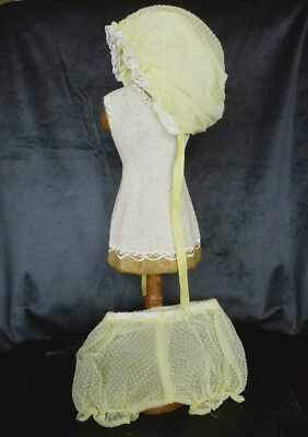 Vintage Infant Baby Doll Clothing Yellow Swiss Dot Baby Bonnet and Bloomers Set