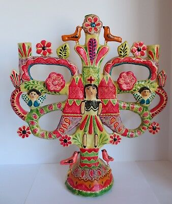 Vintage Mexico/Mexican Pottery Large Tree of Life Candelabra