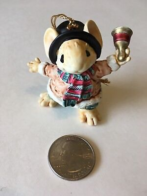 GANZ 1991 Chap Ringing Bell Christmas Ornament Figurine Little Cheesers