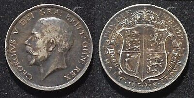 1918 Great Britain Silver Half Crown XF and toned!
