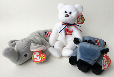 Ty Beanie Baby Set Of (3) American Trio Left Righty Libearty (Beanine Tag Error)