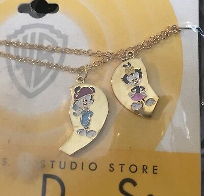 Vintage 90s Animaniacs Best Friends Gold-tone Necklaces, Pack of 2, Unopened NIP