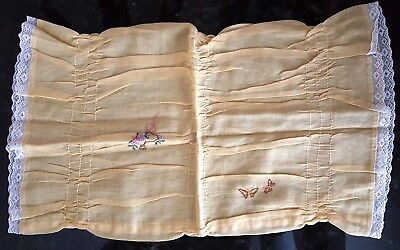 Vintage 1920s 20s Yellow Pillowcase Embroidered Lace Trim VTG