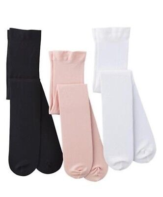 🍀BLOWOUT SALE! (3) Pairs Girls OPAQUE Tights, DANCE/FORMAL Pink, Black, White.