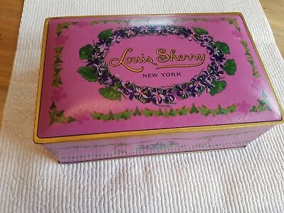 1920s Pink Metal Chocolate Tin Violet Louis Sherry New York Canco Hinged Lid