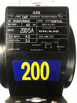 ABB type CMF current transformer ratio 200:5A