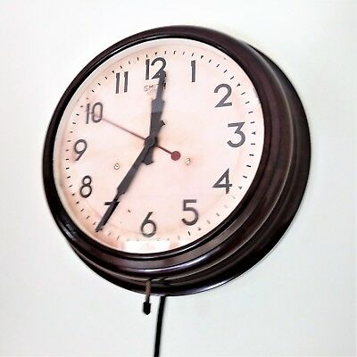 "Smiths Sectric Electric Wall Clock 12"" bakelite FWO Industrial / School 30s 40s"