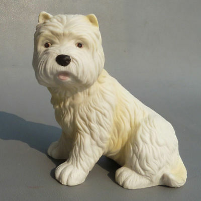 West Highland White Terrier Dog Hand Painted Ceramic Porcelain Figurine Statue