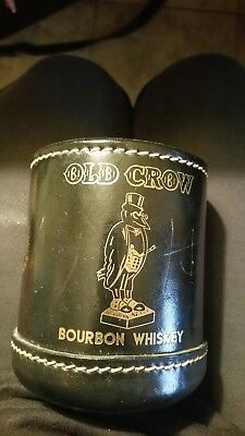 Old Crow Bourbon Whiskey Distillery Advertising Leather Dice Cup Black W/DICE