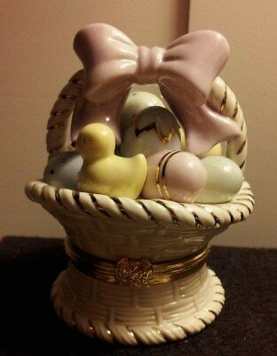 """Quality Lenox First Issue Limited Edition """"easter Basket Surprise"""" Trinket Box!!"""
