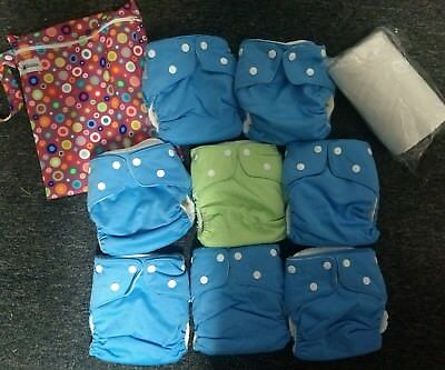 Last modern cloth nappies Pack, 8 pocket MCN with Inserts, wetbag & 100 liners.