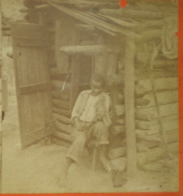 "Vintage Stereoview ~ Black Boy Playing Fiddle ~ ""Happy Little Fool"" Savannah, GA"