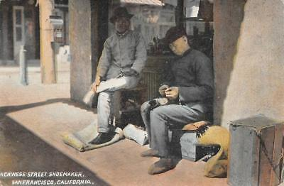 A Chinese Street Shoemaker, San Francisco, CA Chinatown? c1910s Vintage Postcard