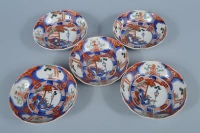 K3908: Japanese Old Imari-ware Colored porcelain ORNAMENTAL PLATE/Dish 5pcs