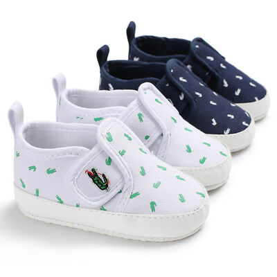 Infant Baby Boy Girl Pram Shoes White Navy Toddler Trainers Newborn to 18 Months