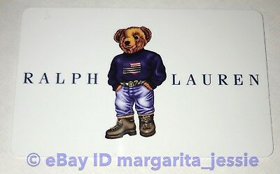 Ralph Lauren Collectible Gift Card Polo Us Flag Blue Sweater Teddy Bear No Value