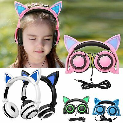 Cat Ear Headset LED Glowing Lights Headphones Earphone Adjustable Headband LOT S